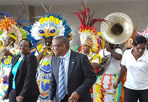 SPIRIT OF CARIFTA – BAAA's President Rosamunde Carey (left), Minister of Youth, Sports and Culture Hon. Michael Pintard (Center) and Pauline Davis-Thompson IAAF Council Member dance to the sounds of the CARIFTA Congoes at the launch of the Flow CARIFTA Games Bahamas 2018 press conference.